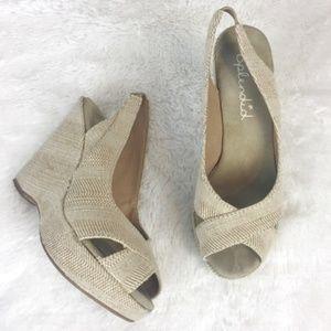 splendid // wedges heels nude shoes linen tan
